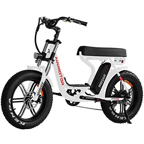 Addmotor MOTAN Electric Bike, 750W E-Bike, Step-Through 20'' Fat Tire Beach Cruiser Mountain M-66 R7 Adult Bikes with 48V 12.8Ah Lithium Battery, Fenders, Headlight, 7 Speeds Gear