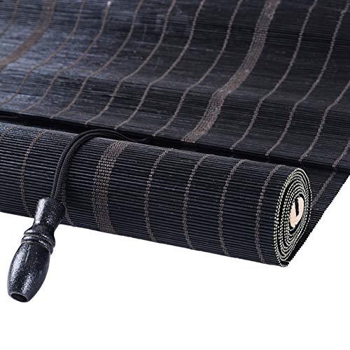 Lqdp Estores Enrollables Persianas Enrollables de Bambú Negro, Cortina Enrollable de Estilo Japonés para Salón de Té en El Techo de La Galería, Tirador Lateral, 100cm/120cm/140 cm de Ancho
