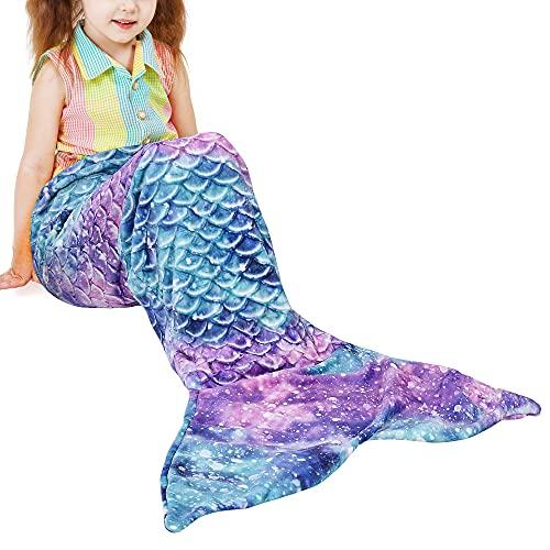 Catalonia Classy Kinder Meerjungfrauen Schwanz Decke, weicher Warmer Plüsch Fleece Schlafsack Kuscheldecke für Mädchen Kleinkind Teens 155 x 50 cm Fischschuppenmuster, Sternenhimmel