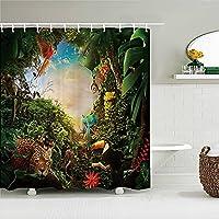 ヨーロッパの花、鳥、植物バスカーテン防水シャワーカーテン3Dプリントフックバススクリーン付きバスルームデコレーションW90xH180cm K