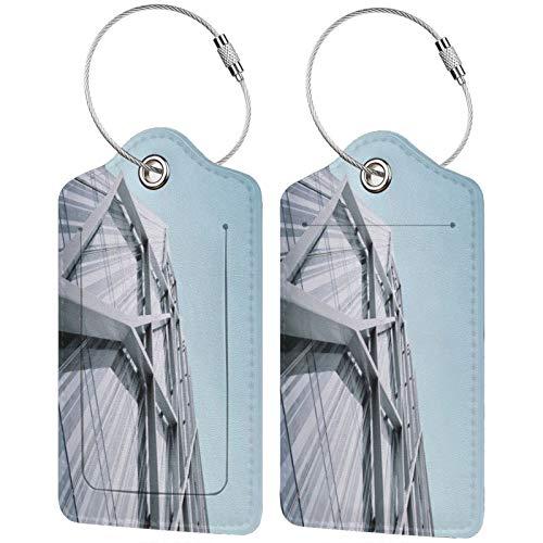 FULIYA Etiquetas para equipaje de viaje, para tarjetas de visita, 2 unidades, para edificio, fachada, arquitectura, construcción, metal, moderno