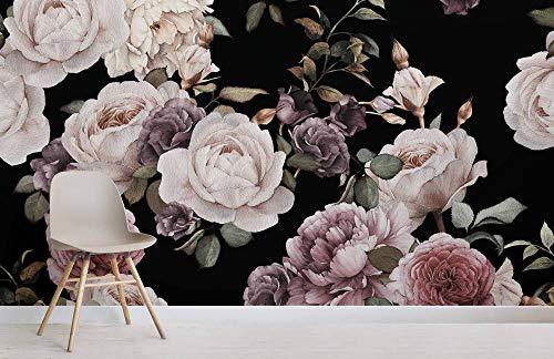 Lila und Pink Dark Floral Fototapete Rose Wallpaper Blumentapete Hauptdekoration
