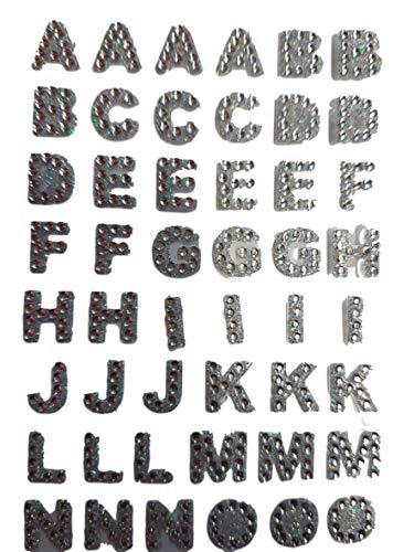 20cm x 8cm Gel Argent Strass corps art autocollants tatouages alphabet lettres vajazzle decal autocollants aussi pour Loisirs créatifs Enfants Ferraille Livres Carte D'anniversaire Portable téléphones - By Fat-Catz