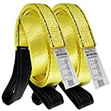 Premium 2 Pcs Crane Towing Strap Durable 3400Dtex - Heavy Duty Web Sling - Corrosion Resistance Polyester Industrial Flat Eye-Eye Ropes (12feet x 2inch)