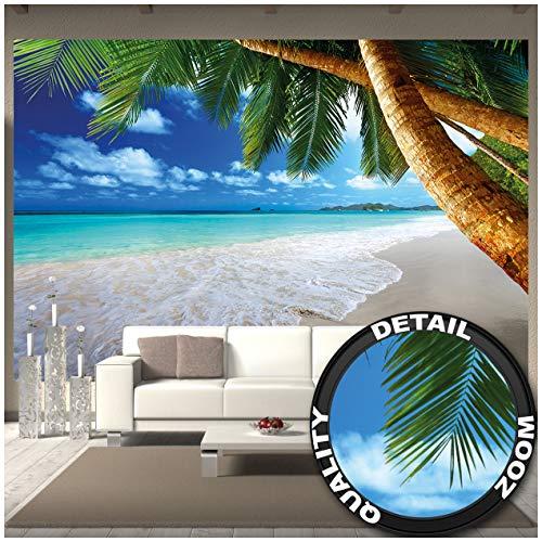 GREAT ART Fototapete – Strand Palmen – Wandbild Dekoration Karibik Traumstrand Bucht Paradies Natur Insel Palmen Tropen Blauer Himmel Sommer Tapete Wandtapete Fotoposter Wanddeko (336 x 238 cm)