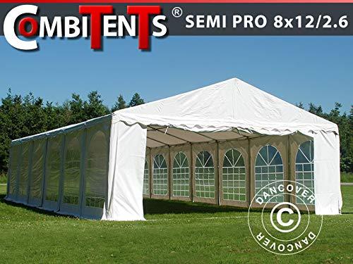 Dancover Partyzelt Pavillon Festzelt, SEMI PRO Plus CombiTents® 8x12 (2,6) m 4-in-1, Weiß