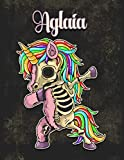 Aglaia: Personalized Dabbing Unicorn Sketchbook & Notebook with pink name   Best Birthday Gift for Aglaia  8.5x11 Size & 100 Sketchbook pages + 50 Wide Ruled Composition Notebook pages