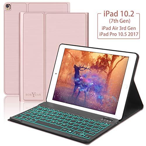 ipad air keyboard case 10.5,Boriyuan 7 Colors Backlit Detachable Keyboard Slim Leather Folio Smart Cover for iPad Air 3rd gen 10.5/iPad Pro 10.5 2017,Rose Gold