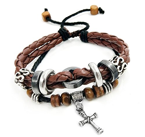 Suyi Multilayer Adjustable Leather Woven Braided Bangle Cross Bracelet Leaf Wrist Cuff Wristband Ccoffee