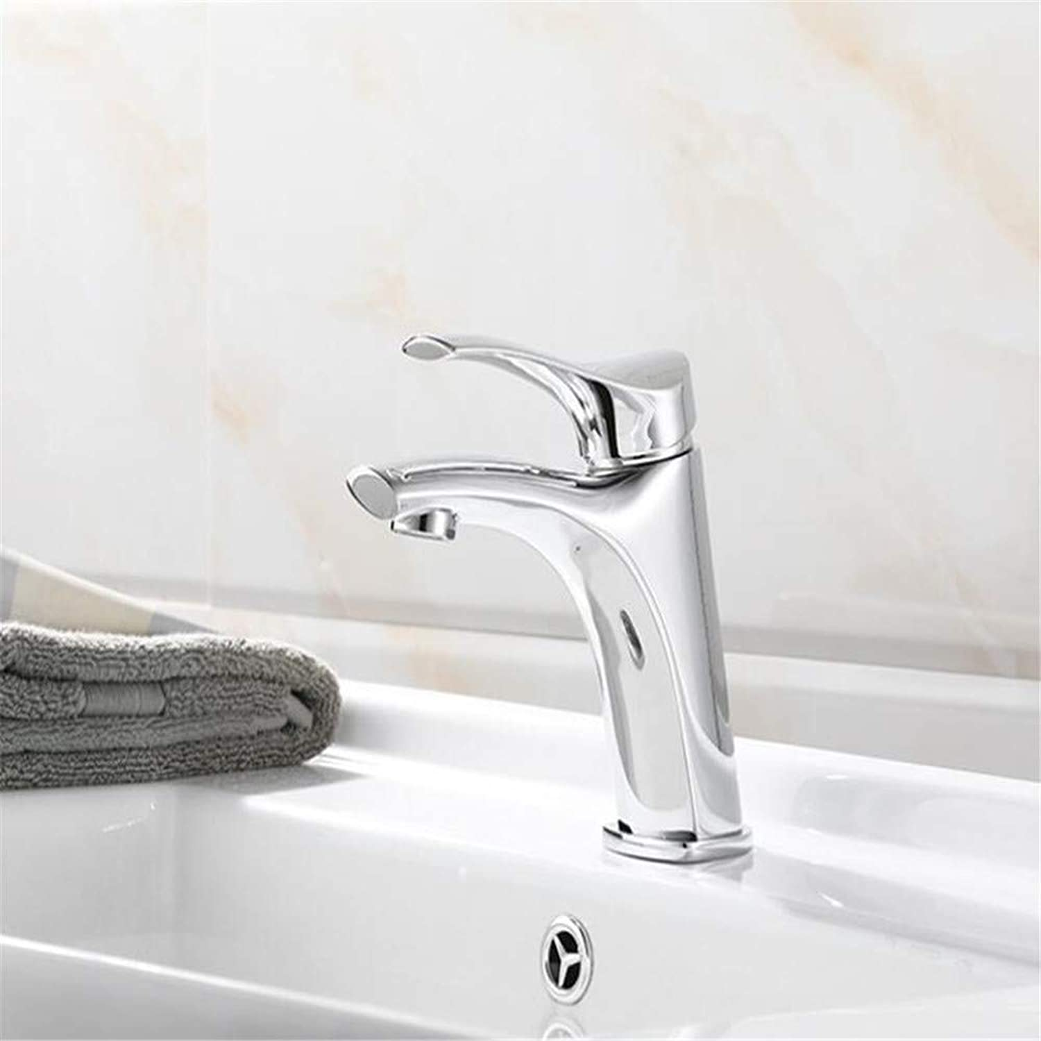 Faucetbasin Mixer Tap Ceramic Spool Basin Faucet All Copper Hot and Cold Water Basin Faucet pink gold