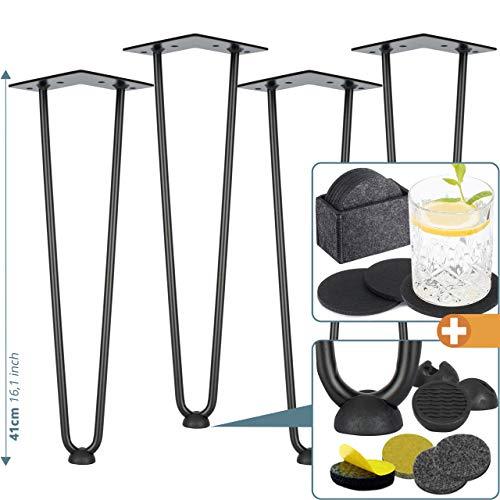 4x Haarnadel-Tischbeine rostfreies Metall schwarz - Hairpin Leg 41 cm mit 2 Streben +PLUS: Bodenschutz + Filzuntersetzer