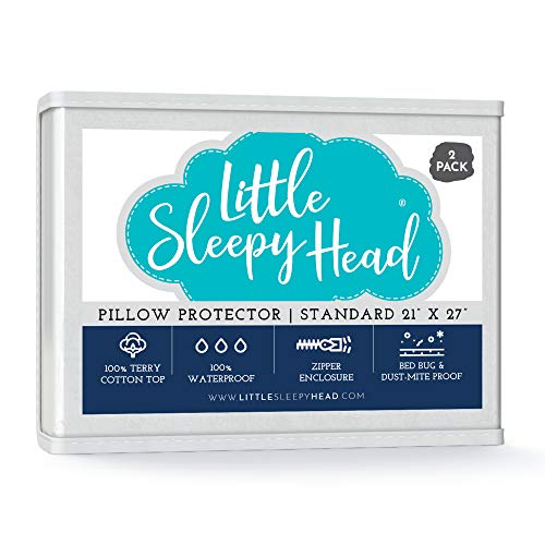 Little Sleepy Head Waterproof, Zippered Standard Pillow Protectors, Set of 2, Terry Cotton, 100% Hypoallergenic Pillow Covers Protect from Moisture - 2 Pack, (21x27)