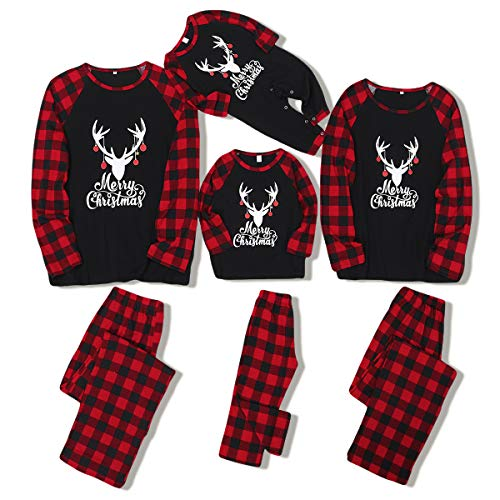 ZOEREA Holiday Christmas Family Pajamas Matching Set Moose Xmas Pjs for Couples and Kids Baby Sleepwear