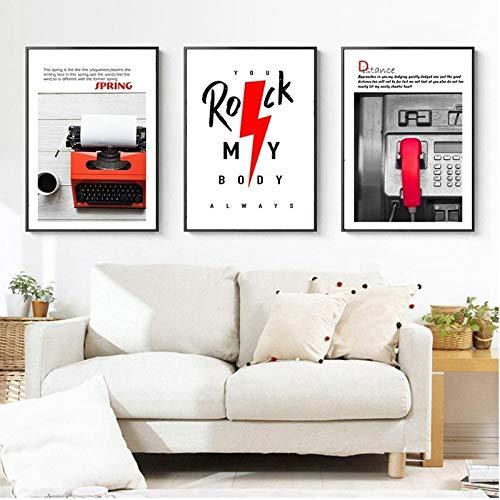 kldfig Nordic poster vintage zwart-wit-rood klassieke printer telefoon canvas schilderij moderne wooncultuur woonkamer muurkunst schilderij schilderij schilderij schilderij - 40x60cmx3 niet ingelijst