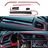XHQ for 10th Gen Honda Civic Air Conditioning Outlet Trims Dashboard Decoration Typer Style ABS Plastic Material fit Civic 2016-2021 Carbon Fibre Accessories 9PCS(Red)