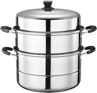 Jiangu - Olla de sopa de acero inoxidable con tapa, apta para sopa y estofado antiadherente y revestimiento de acero inoxidable cuadrado StyleName 34cm Color