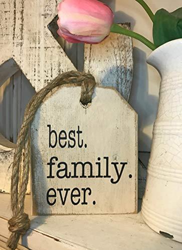 Ced454sy beste familie ooit plank Sitter Tag Teken Hout Teken Familie Teken Verontrust Teken Galerij muur Home Decor Rustiek Teken