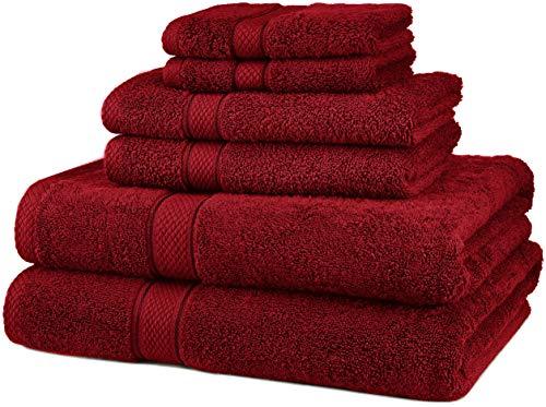 Pinzon - Juego de toallas (algodón egipcio de 725 gramos, 6 unidades), color Blanco, Juego de 6 piezas, Rojo, 725 g