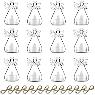 Sziqiqi Pack of 10 Hanging Glass Candle Holders Angel Candleholders with Led Tealight Candle Inside Votive Decoration for Wedding Party Restaurant Hotel Garden Decoration (10 Pcs + 2 Pcs)