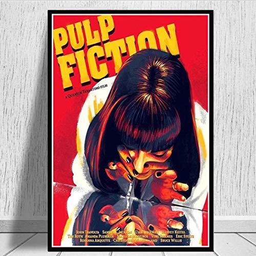 yhnjikl Pulp Fiction Actrice Fumée Film Vintage Affiche De Film Et Gravures Art Peinture Mur Photos pour Le Salon Home Collection Décor 40X60 Cm sans Cadre