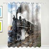 Cortinas opacas Morden con cortinas de humo de tren de vapor clásico con arandela superior Conjunto de 2 paneles, cada uno de 55W x 84L pulgadas para el hogar Sala de estar Dormitorio Oficina