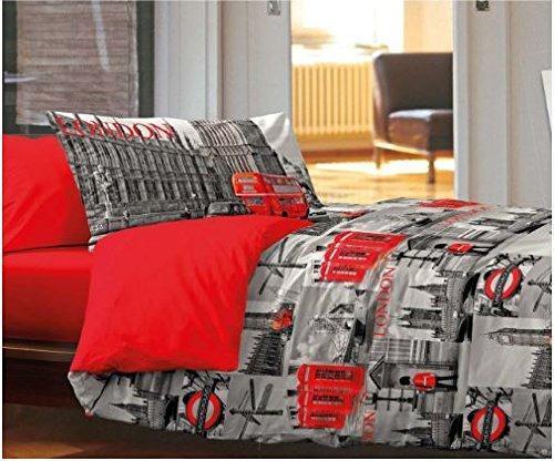 Imperdable : Parure de lit Une Place et demie London City Londres Y Compris Deux taies d'oreiller .