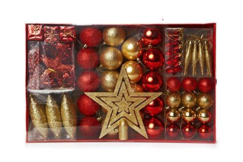 HEITMANN DECO Weihnachtsbaum-Schmuck - Gold/rot - 60-teilig - Set inkl. Baumspitze, Kugeln, Perlkette, Girlande und Sterne - Kunststoff