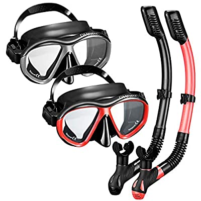 OMORC Snorkel Set for Couples,2 Pack Anti-Fog Tempered Glass Snorkel Sets,Free Breathing Anti-Leak Snorkeling Package Set,Snorkel Gear for Adult Youth,Snorkel Kit Bag Included (Black and Red)