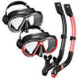 OMORC Snorkel Set for Couples,2 Pack Anti-Fog Tempered Glass Snorkel Sets,Free Breathing Anti-Leak Snorkeling...