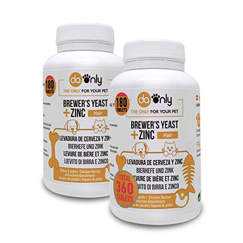 DAONLY Levure de bière + Zinc + Vitamine E pour Chiens et Chats (2 Pack) Complement Alimentaire pour Les Cheveux, la Peau et Les Ongles.