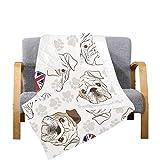 Enhusk Manta portátil Edredón Bulldog inglés Patas de Perro Huellas Microfibra Manta Acolchada Ligera 70x80 Pulgadas Multicolor Decorativo para sofá Cama Sofá