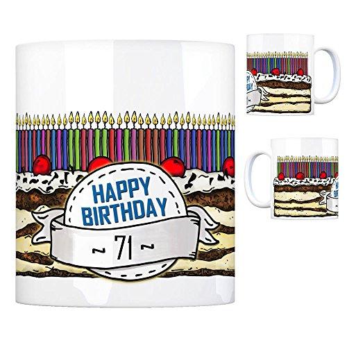 Geburtstagstorte Kaffeebecher zum 71. Geburtstag mit 71 Kerzen Tasse Kaffeetasse Becher Mug Teetasse Büro 71 Jahre Tasse Torte Kuchen 71 Kerzen Geschenkidee Geburtstagstasse Schwarzwälder