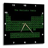 3dRose DPP_76646_2 Neon Green on Black Periodic Table-Retro Computer Programmer Style-Science Chemistry Physics-Wall Clock, 13 by 13-Inch