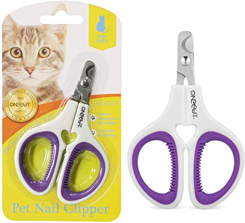 OneCut Pet Nail Clippers, Update Version Cat & Kitten Claw Nail Clippers for Trimming, Professional Pet Nail Clippers Best for a Cat, Puppy, Kitten & Small Dog (Purple)