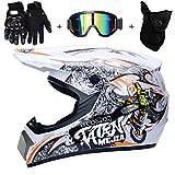 AMITD Casco para Motocross con Estampado de Moto Blanco, 4pcs Juego de Casco de Moto + Gafas + Guantes de Motocicleta + Mascarilla, para Hombre Mujer, White, XL(58~59)