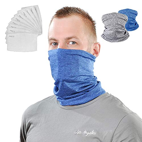 Neck Gaiter Scarf Bandana Fashionable Face Masks with Filters 2 in 1 pk US STOCK