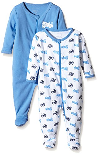 NAME IT Baby-Jungen NITNIGHTSUIT ZIP W/F NB B NOOS Schlafstrampler, Mehrfarbig (Regatta), 62 (2er Pack)