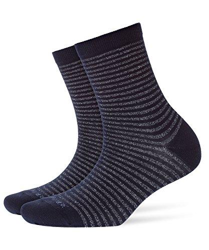 BURLINGTON Damen Socken Ladywell  Ringlet, Baumwollmischung, 1 Paar, Blau (Marine 6121), Größe: 36-41