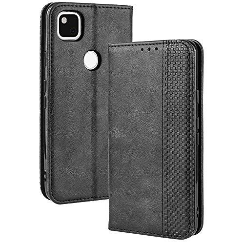 TANYO Leder Folio Hülle für Google Pixel 4A 4G (Not for 5G Version), Premium Flip Wallet Tasche mit Kartensteckplätzen, PU/TPU Lederhülle Handyhülle Schutzhülle - Schwarz