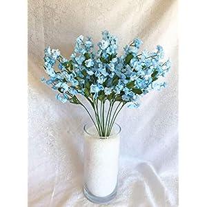 Floral Décor Supplies for Artificial Gypsophila 12 pcs Silk Baby's Breath Flowers Wedding Filler Gyp Dozen for DIY Flower Arrangement Decorations – Color is Light Blue & Cream