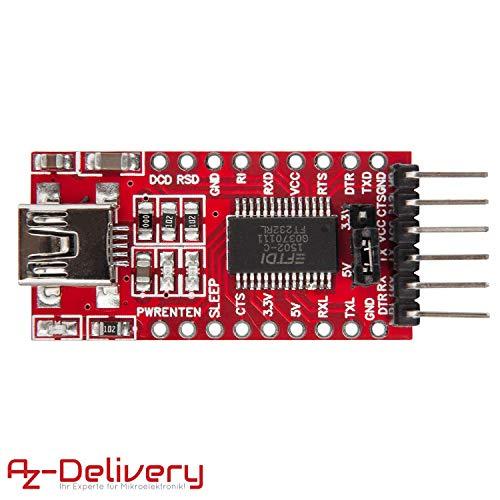 AZDelivery Adattatore Seriale FTDI FT232RL da USB a TTL per 3,3V e 5V con eBook