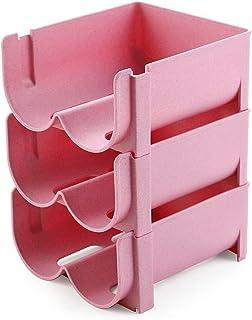 Lot de 3 boîtes de rangement en plastique pour réfrigérateur ou cuisine Rose