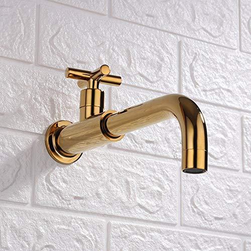 Fregadero de cocina en la pared alargado dorado, un solo grifo frío, lavadero de cobre, trapeador para piscina, trapeador para piscina, balcón, grifo para jardín al aire libre, interfaz G1 / 2