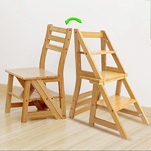 PENGFEI Pliable Stool Ladder Multifonction Usage Double Toutes Les Bambou Couleur De Miel, 35 * 62 * 90 CM