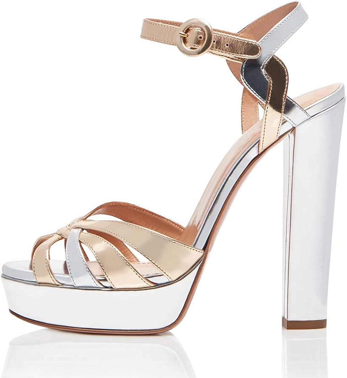 Women's Platform Ankle Strap Chunky High Heel, Open Toe Strappy Buckle Formal Party Dress Sandal Pump