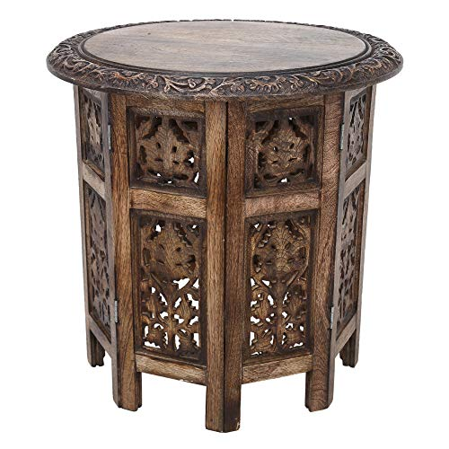RAJRANG BRINGING RAJASTHAN TO YOU Folding Round Wooden Table Brown Bedside Coffee Tea Small Side Tables End Modern Hallway Telephone Solid Wood Foldable Sitting Room Stool 45x45cm Living and Bed Room