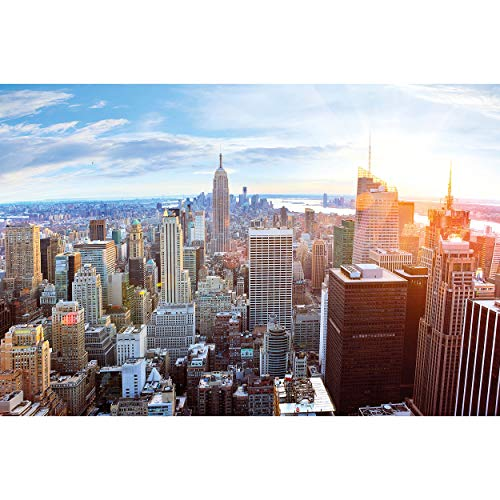 GREAT ART® XXL Poster – New York City Skyline – Wandbild Dekoration Penthouse Sonnenuntergang Manhattan Amerika USA Deko Big Apple NYC Wandposter Fotoposter Wanddeko (140 x 100 cm)