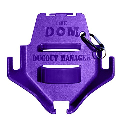 Dugout Organizer for Softball & Baseball Gear Hanger for Bat, Glove, Helmet and Bottle of Water- The DOM - Purple