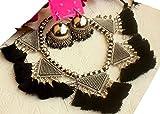 salaam Namaste German Silver Tassel Necklace with Beautiful Earrings, Jhumkas (Black)
