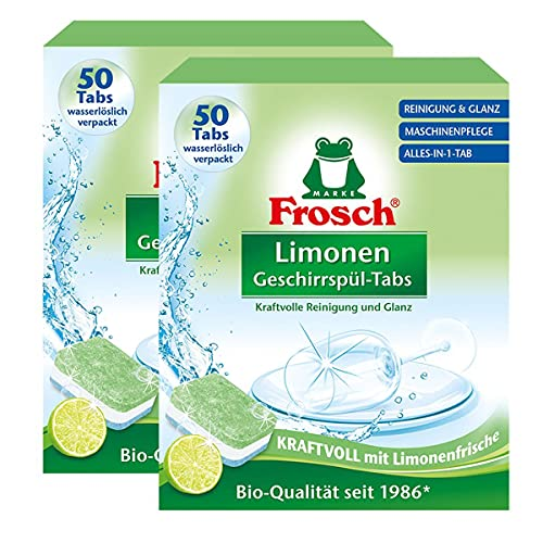 Pastillas para lavavajillas Frosch Limonen, 50 pastillas – Limpieza y brillo (2 unidades)